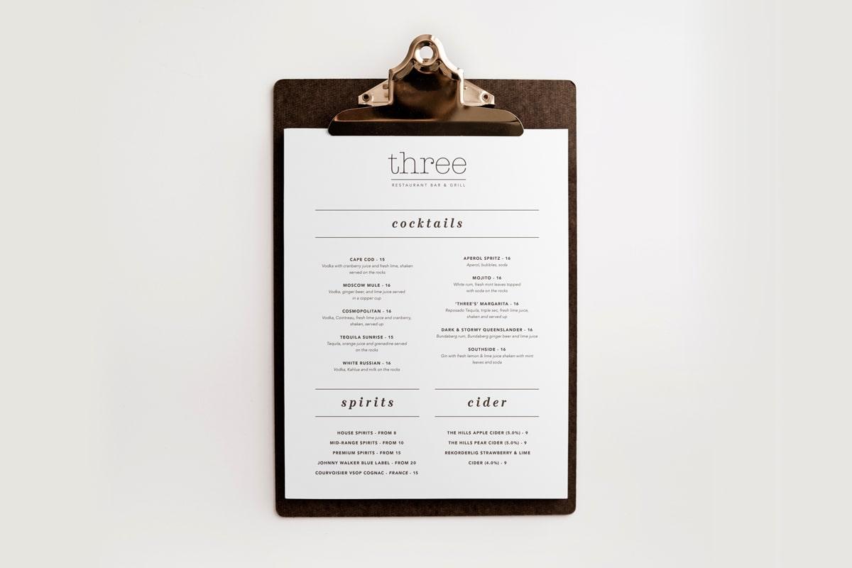 Three Bar and Grill menu design
